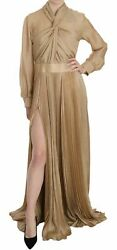 Dsquared2 Dress Gold Pleated Front Slit Long Sleeve Gown It44/ Us10/ L Rrp 3250