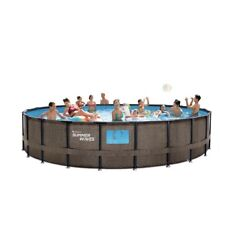 New Summer Waves 22ft X 52in Above Ground Swimming Pool W/ Pump, Ladder, And Cover