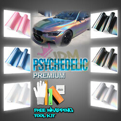 Psychedelic Gloss Metallic Glossy Rainbow Holographic Vinyl Wrap Air Release