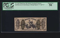 Us Justice Fractional Currency Red Back W/ 1 And A Fr 1344 Pcgs 50 Au 025