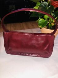 Coach Classic Red Wine Leather Small Hobo shoulder Bag Woven Edge $45.00