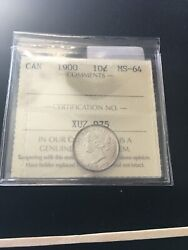 1900 Iccs Graded Canadian, 10 Cent, Ms-64
