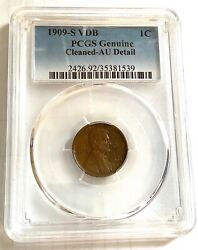 1909-s Vdb Lincoln Cent Pcgs Au Details Cleaned. Key Date