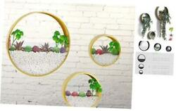 Modern Wall Planters Wall Vase Succulent Planter Circle Round Pack of 3 Gold
