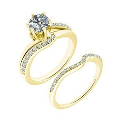 1.25 Ct Real White Diamond Split Shank Solitaire Ring Band Set 14k Yellow Gold