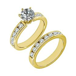 1.75 Ct Real White Diamond Solitaire Channel Wedding Ring Band 14k Yellow Gold