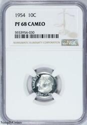 1954 Roosevelt Silver Dime Ngc Pf68 Cameo Cam Proof B3-954-030