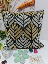 Hand Crafted Beaded Cushion Cover And Sequins Embroidery | Home Decor