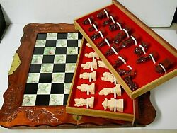 Vintage Asian Chess Board Set Hand Carved Wood Pieces And Folding Box Tile Inlay