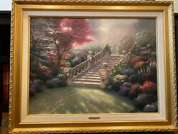 Thomas Kinkade Stairway To Paradise S/n Canvas 477/3950 25.5 By 34 Mint Condit.