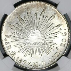 1877-mo Ngc Ms 64 Mexico 8 Reales Mint State Silver Coin Pop 4/1 21040202d