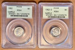 2 Pcgs Sample Slabs 1962 And 1962-d Ms 64 Roosevelt Dimes Ogh Old Green Holders