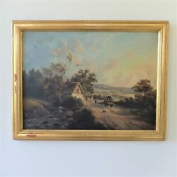 Antique Farm Oil Painting - High Quality Oil On Board