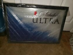 Michelob Ultra Mirrored Beer Sign Wooden Framed Brand New In The Wrapper