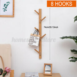 Creative Rustic Wall-mounted Wood North Europe Coat Rack 8 Hooks For Entryway