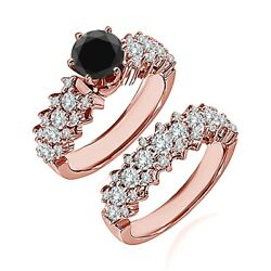 1.75 Carat Real Black Diamond Cluster Solitaire Wedding Ring Band 14k Rose Gold