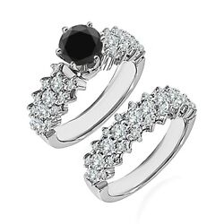 1.75 Carat Real Black Diamond Cluster Solitaire Wedding Ring Band 14k White Gold