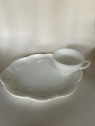 Vintage Milk White Glass Lunch Plate Snack Plate Embossed Cup Ring Harvest Set 8