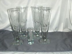 5 Pc Vintage Coyle Art Glass Etched Western Boot Beer Glasses And 1 Shot Signed