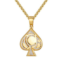 Ace Of Spade Playing Cards Poker Bling Mens Hip Hop 14k Gold Tone Pendant Tennis