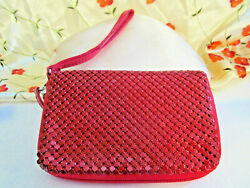New Vtg Style Red Red Chain Mail Mesh Clutch Wallet Purse Wristlet Strap Sale