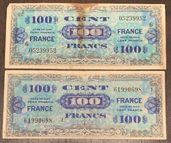 1944 100 Cent Francs Military Currency 2 Notes