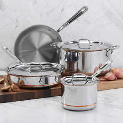 All-clad Copper Core 5-ply Bonded Cookware Set, 7-piece 18/10 Stainless Steel
