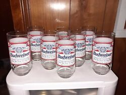 Set Of 8 Cooler Glasses 16 Oz Budweiser Beer Red White New In Open Box By Libby