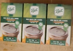 Ball Regular Mouth Lids And Rings Bands For Mason Jar Canning 3 Boxes New 36 Pc