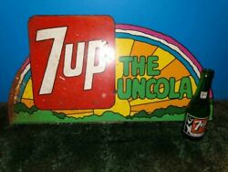 Vintage/ Antique 7 Up Uncola Rainbow Sign And Glass Bottle With Girl In Swimsuit