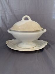 Antique Circa 1864-1871 Furnival And Co White Ironstone England Tureen And Plate