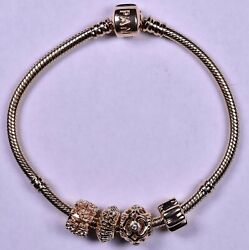 Pandora 7.5and039and039 Solid Gold 14k Bracelet With 4 Charms Authentic Signed