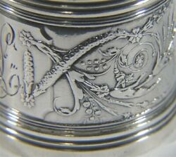 Fabulous Antique Gorham Lag Mark 1710 Sterling Silver Swag Flower Napkin Ring