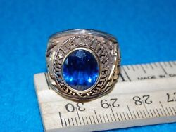 U.s. Army Military Police Menand039s Blue Stone Ring Size 8.5 - Nos - Life Time Alpha