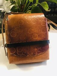Fiveleft Leather Crossbody Bag, Canadian Dime Embossed , One Size