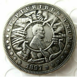 Hobo Nickel 1897 Morgan Dollar Hand Grabbing Lincoln Casted Coin For Collections