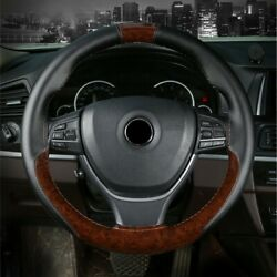 Leather 38cm Diy Car Peach Wood Steering Wheel Cover With Needles Thread