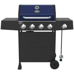 Propane Gas Grill Four Side Burner Stainless Steel Cart Garden Outdoor Blue New