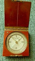 Vintage Keuffel And Esser Compass In Folding Wood Box Case Boy Scouts
