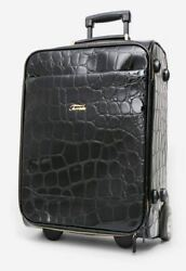 Terrida Embossed Trolley Suitcase Travel Real Calf Leather Handmade In Italy