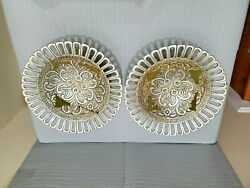 Vintage Pair Of 2 Made In Indian Metal Compote Tray 4and039and039 T 9 3/8and039and039 W