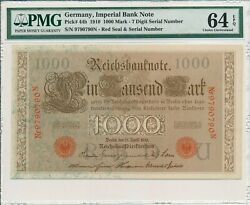 Imperial Bank Note Germany 1000 Mark 1910 7 Digit Serial Number Pmg 64epq