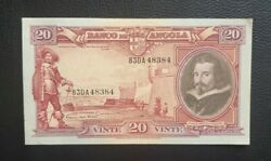 1951 20 Angolares Angola Portugal Banknote Very Very Rare Almost Unc