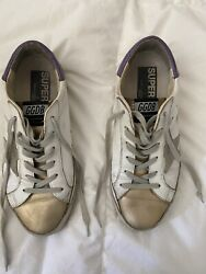Authentic Golden Goose Superstar Sneakers White Purple Gold Size 37 Go Lakers