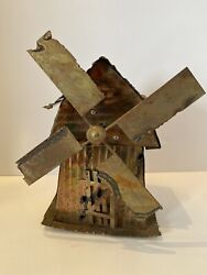 Vintage Copper Tin Music Box Windmill Windmills Of Your Mind The Sting