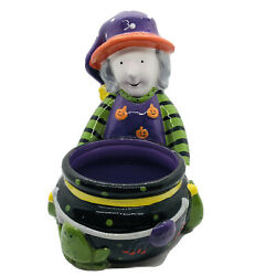 """7""""x7"""" Ceramic Witch With Couldron Spider Frog Candy Dish Halloween Decor"""