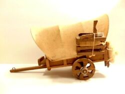 Small Toy Wooden Conestoga Or Pioneer Style Covered Wagon With Canvas Top