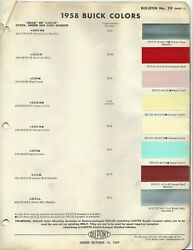 1958 BUICK PAINT CHIPS WITH SPRING COLORS DUPONT