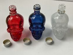 Skull Glass 50 Ml Bottle Set Empty W/caps. Red White And Blue In Box