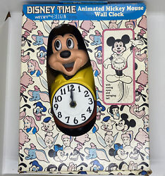 Vintage Mickey Mouse Disney Time Animated Wall Clock Disneyland Read
